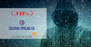 image: hooded hacker lurking in the background. In a box are three company logos: JBS, Colonial Pipeline Co., and Solarwinds - all victims of a recent cyberattack.
